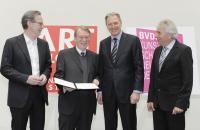 ART COLOGNE-Preis 2013. Preisverleihung 19.04.13.: Klaus Gerrit Friese (BVDG), Fred Jahn, Gerald Boese (Koelnmesse GmbH), Juergen Roters (Oberbürgermeister der Stadt Köln) © Koelnmesse