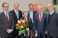 ART COLOGNE-Preisverleihung im Historischen Rathaus Köln. V.l.n.r.: Klaus Gerrit Friese, Gerald Böse, Anny De Decker, Dirk Snauwaert, Jürgen Roters, Daniel Hug