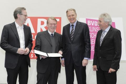 AC-Preis 2013 Fred Jahn. Klaus Gerrit Friese, Fred Jahn, Gerald Boese, Juergen Roters (vlnr) © Koelnmesse