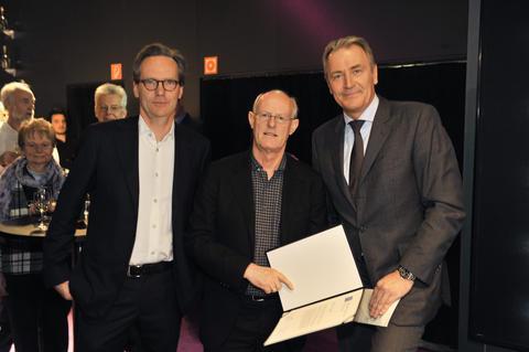 Cologne Fine Art-Preis 2012. Preisverleihung. Klaus Gerrit Friese, Tony Cragg, Gerald Böse (vlnr). Foto: koelnmesse