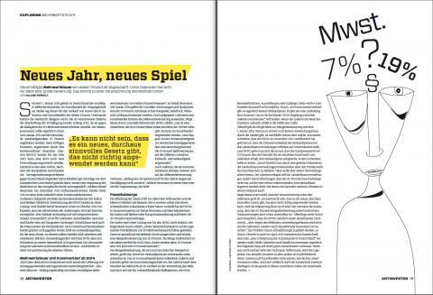 ARTINVESTOR 02/14: Mehrwertsteuer. Neues Jahr, neues Spiel. Von Valerie Präkelt. Illustration Julia Bretschneider