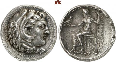 Dekadrachme. Alexander III 325 v.Chr Babylon ǀ A 318/Lot 604 © Fritz Rudolf Künker GmbH & Co. KG, Osnabrück