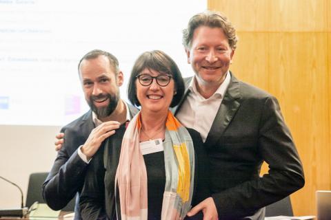 Der BVDG Vorstand für die nächsten drei Jahre: Thole Rotermund, Karin Schulze-Frieling, Kristian Jarmuschek. Foto: Markus Hoffmann, Köln