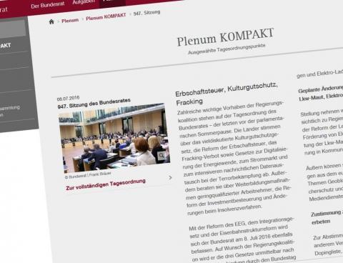 screenshot website Bundesrat 947 Plenarsitzung TOP7